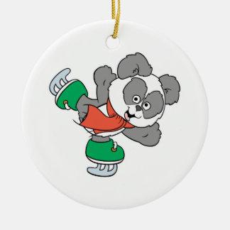 Cute Ice Skating Panda Bear Double-Sided Ceramic Round Christmas Ornament