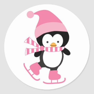Cute Ice Skating Penguin in Pink Stickers