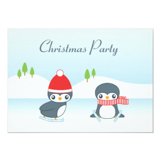 Cute Ice Skating Penguins Christmas Party 5x7 Paper Invitation Card