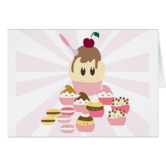 Cute icecream and cup cakes card