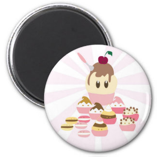Cute icecream and cup cakes fridge magnets