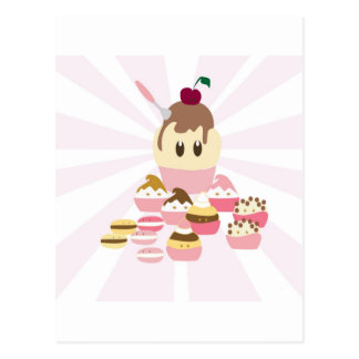 Cute icecream and cup cakes post card