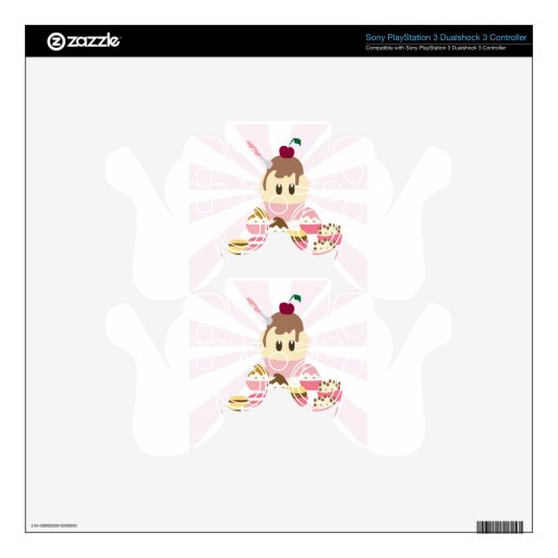 Cute icecream and cup cakes decal for PS3 controller