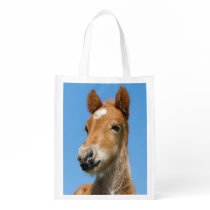 Cute Icelandic Horse Foal Pony Head Front Photo . Reusable Grocery Bag