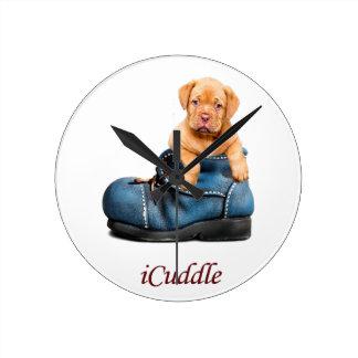 Cute iCuddle French Mastiff Puppy Round Clock