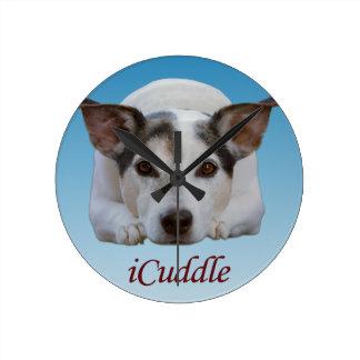 Cute iCuddle Jack Russel Dog Round Clock