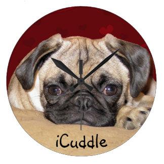 Cute iCuddle Pug Puppy Large Clock