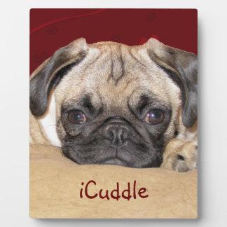 Cute iCuddle Pug Puppy Photo Plaque