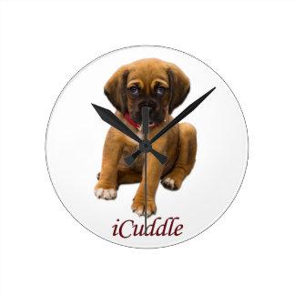 Cute iCuddle Puppy Dog Round Clock