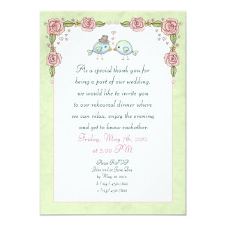 Cute Illustrated Birds and Roses Rehearsal Dinner Card