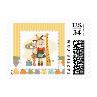 Cute illustrated birthday party animals postage stamp