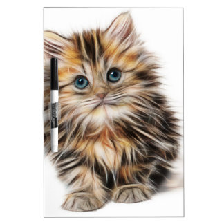 Cute Illustrated Kitten Dry Erase Board