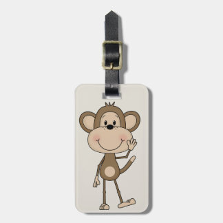 Cute illustrated Monkey Luggage Tag