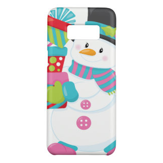 Cute Illustrated Snowman Holding Stack of Wrapped Case-Mate Samsung Galaxy S8 Case