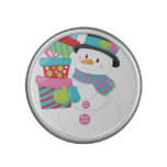 Cute Illustrated Snowman Holding Stack of Wrapped Speaker