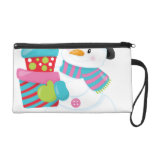 Cute Illustrated Snowman Holding Stack of Wrapped Wristlet