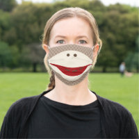 Cute Illustrated Sock Monkey Smile Cloth Face Mask