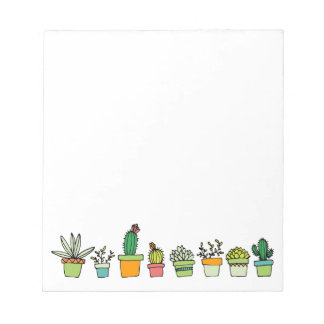 Cute Illustrated Succulent Garden Border Note Pad
