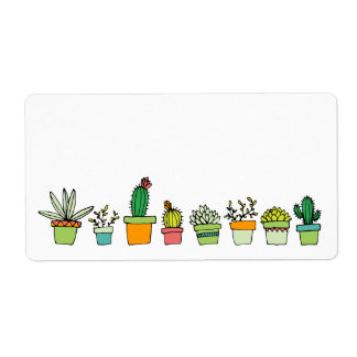 Cute Illustrated Succulent Garden Shipping Label