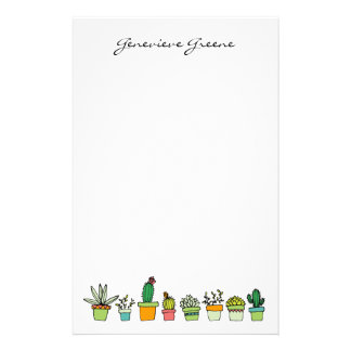 Cute Illustrated Succulent Monogram Stationery
