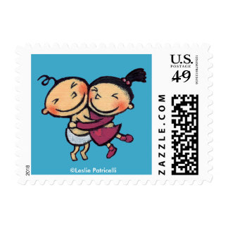 Cute Illustrated Toddlers Hugging Postage Stamp