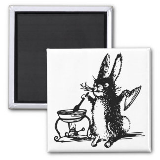 Cute Illustrated Vintage Black Rabbit Cooking 2 Inch Square Magnet