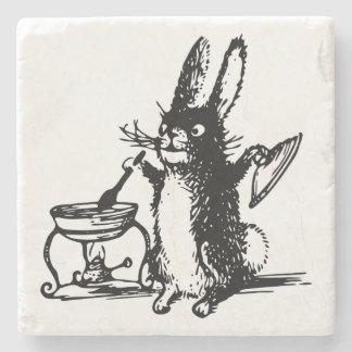 Cute Illustrated Vintage Black Rabbit Cooking Stone Coaster