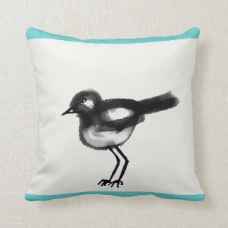 Cute illustration of a black and white bird throw pillow