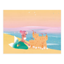 Cute illustration of mermaids' day on the Beach Postcard