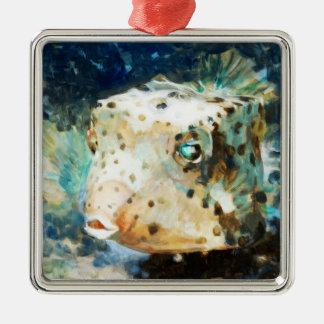 Cute Impressionistic Box Fish in Neutral Hues Metal Ornament