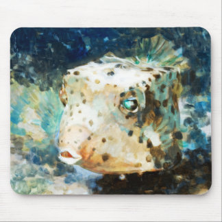 Cute Impressionistic Box Fish in Neutral Hues Mouse Pad