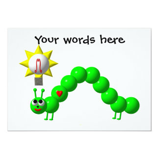 Cute Inchworm with an idea! Personalized Invitation