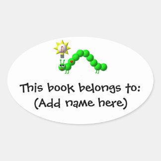 Cute Inchworm with an idea! Oval Sticker