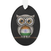 Cute Indian Flag Owl Wearing Glasses Ornament