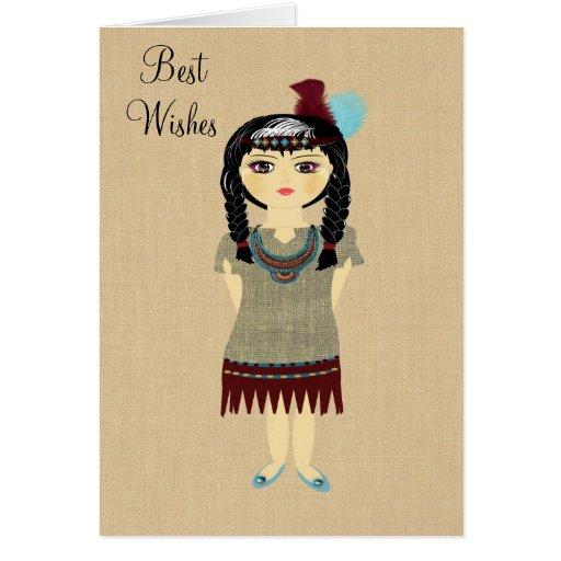 Cute Indian Girl Blank Greeting Card
