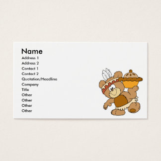 cute indian thanksgiving bear with pie business card