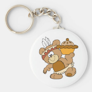cute indian thanksgiving bear with pie keychain
