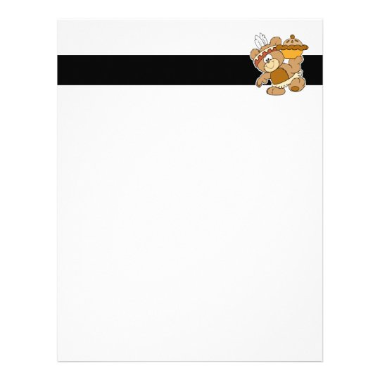cute indian thanksgiving bear with pie letterhead