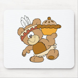 cute indian thanksgiving bear with pie mouse pad