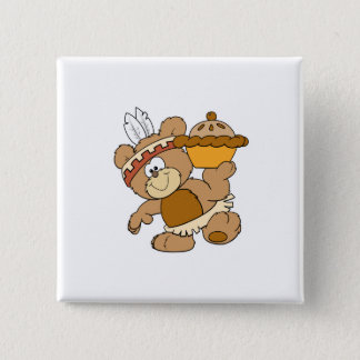 cute indian thanksgiving bear with pie pinback button