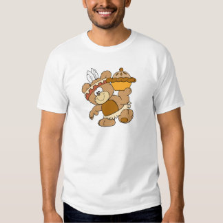 cute indian thanksgiving bear with pie t shirt