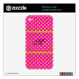 Cute Initial Girly Trendy Bling Glitter Pattern Decal For The iPhone 4S