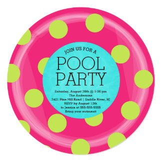 Cute Inner Tube Floatie Summer Pool Party 5.25x5.25 Square Paper Invitation Card