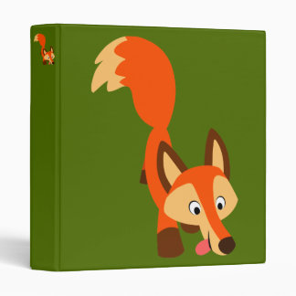 Cute Inquisitive Cartoon Fox 3 Ring Binder