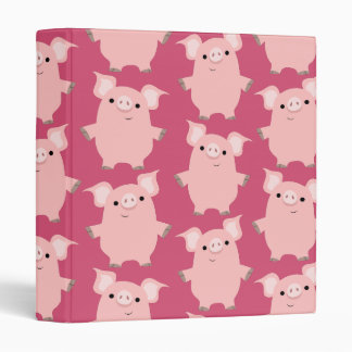 Cute Inquisitive Cartoon Pigs Binder