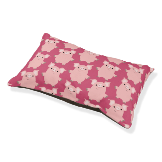Cute Inquisitive Cartoon Pigs Dog Bed Small Dog Bed