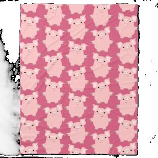 Cute Inquisitive Cartoon Pigs Fleece Blanket