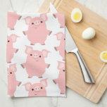 Cute Inquisitive Cartoon Pigs Kitchen Towel