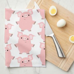 Superbe Cute Inquisitive Cartoon Pigs Kitchen Towel