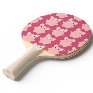 Cute Inquisitive Cartoon Pigs Ping Pong Paddle